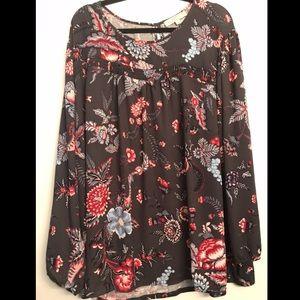 LOFT Plus Navy Floral Long Sleeve Blouse size 26